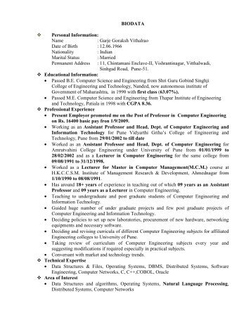 BIODATA Personal Information - PVGCOET Pune India :: College of ...