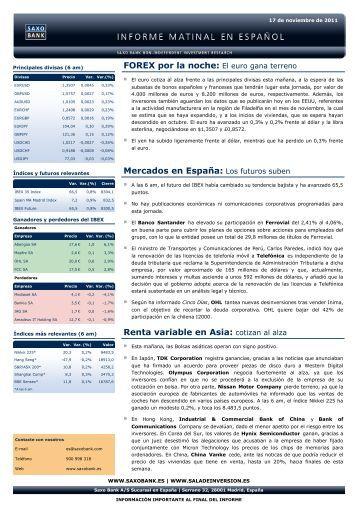 Informe matinal de mercado de - Sala de Inversión España