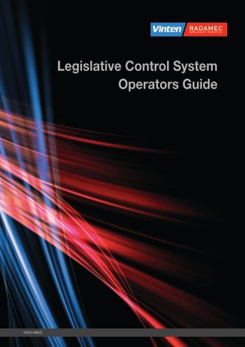 Legislative Control System Operators Guide - Vinten Radamec