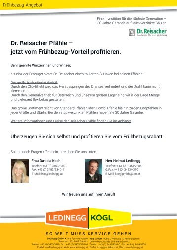 Dr. Reisacher Pfähle – jetzt vom Frühbezug-Vorteil ... - Ledinegg