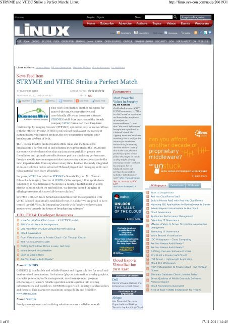 STRYME and VITEC Strike a Perfect Match   Linux