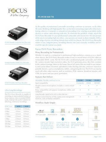 FS-H50/60/70 Focus FS-H Proxy Recorders