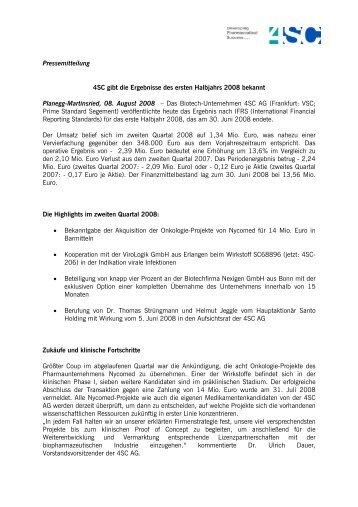 Pressemitteilung 4SC gibt die Ergebnisse des ersten Halbjahrs ...