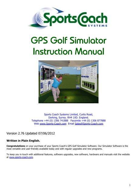 Manual GPS Golf Simulator - Sports Coach