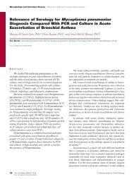 Relevance of Serology for Mycoplasma pneumoniae Diagnosis ...