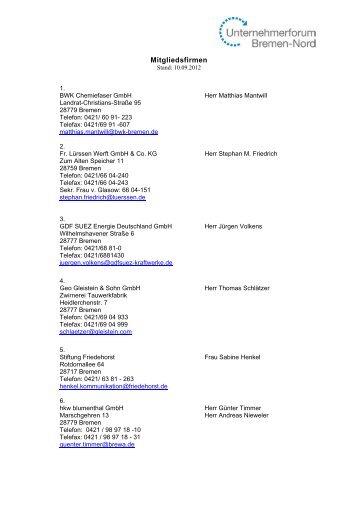 Mitgliedsfirmen - Unternehmerforum Bremen-Nord