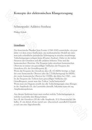 Konzepte der elektronischen Klangerzeugung - schulzone - Philipp ...