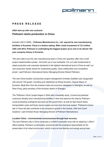 P R E S S   R E L E A S E   Pollmann starts production in China