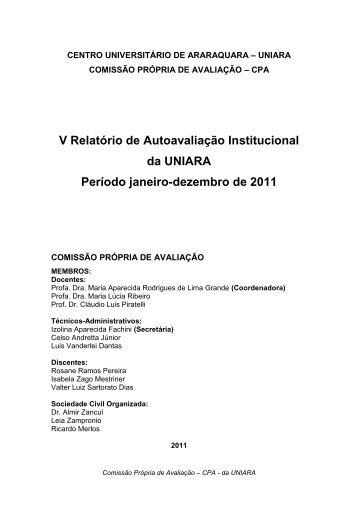 V Relatório de Autoavaliação Institucional da UNIARA Período ...