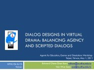 DIALOG DESIGNS IN VIRTUAL DRAMA: BALANCING AGENCY ...