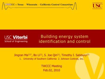 Building energy system identification and control