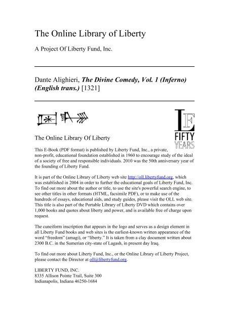 The Divine Comedy Vol 1 Inferno English Trans