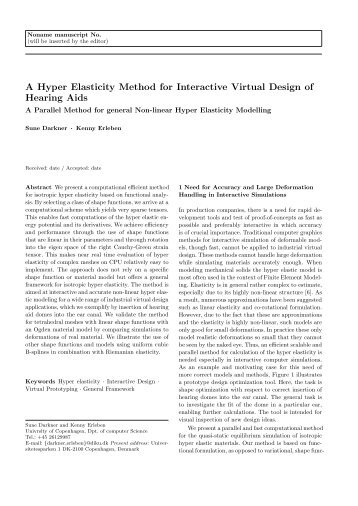 A Hyper Elasticity Method for Interactive Virtual Design of Hearing Aids