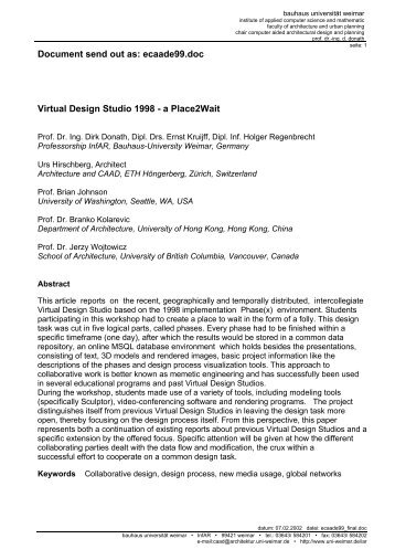 Document send out as: ecaade99.doc Virtual Design Studio 1998 ...