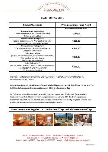 Hotel Raten 2012 - Villa am See