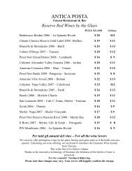 Reserve Red Wines By The Glass - Antica Posta