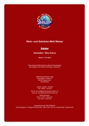 Katalog für Hersteller: Villa Antica - und Getränke-Welt Weiser
