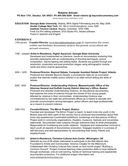 Resume Pdf Beyond Documentary