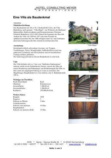Eine Villa als Baudenkmal - HCMI Immobilien-Center