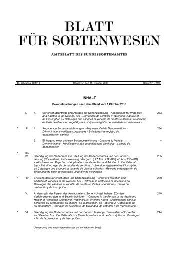 Oktober 2010 - Bundessortenamt