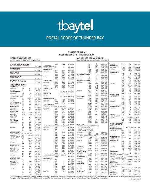 Postal Codes Of Thunder Bay Tbaytel