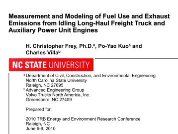Measurement and Modeling of Fuel Use and Exhaust - Center for ...