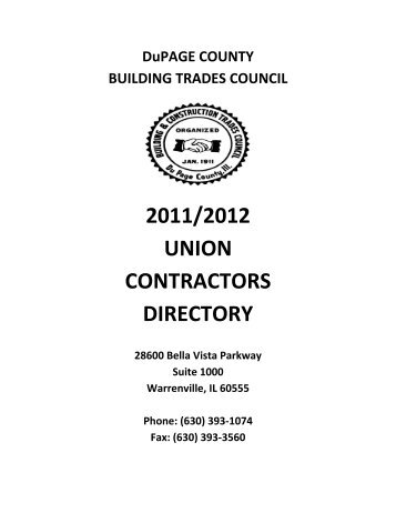 2011/2012 union contractors directory - DuPage County Building ...