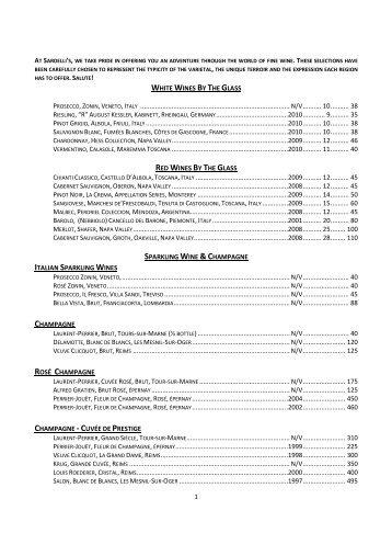 complete wine list - Sardellis