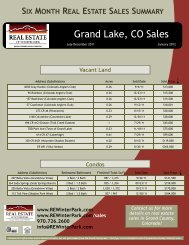 Grand Lake, CO Sales - Real Estate of Winter Park