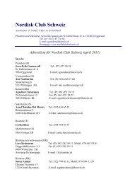 Adresslista för Nordisk Club Schweiz (april 2011)