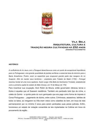 Vila Bela Arquitetura, cultura e tradição negra ... - arte & cidade