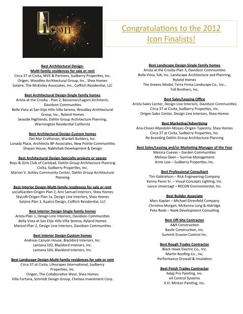 Congratulaons To The 2012 Icon Finalists Bia San Diego