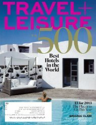 Travel+Leisure – 500 Best Hotels in the World - El Secreto