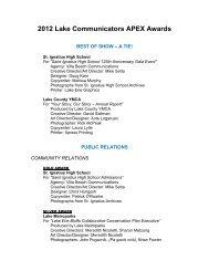 Complete list of 2012's winners - Lake Communicators