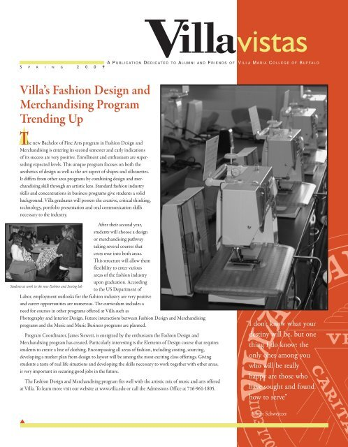 Spring 2009:Vistas Fall 2008 - Villa Maria College
