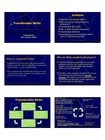 Transferable Skills Content Transferable Skills - University College ...