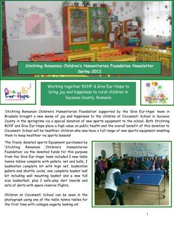 Stichting Romanian Children's Humanitarian Foundation Newsletter ...