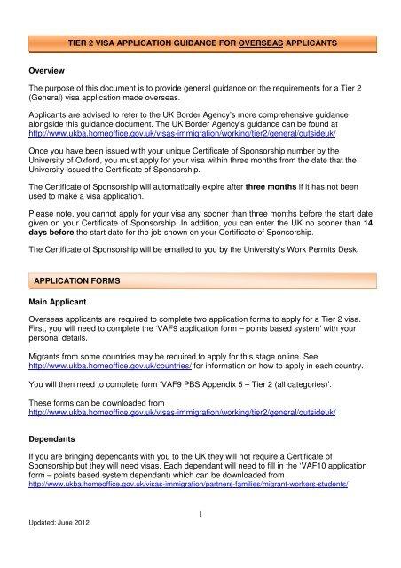 Tier 2 Visa Application Guidance University Of Oxford