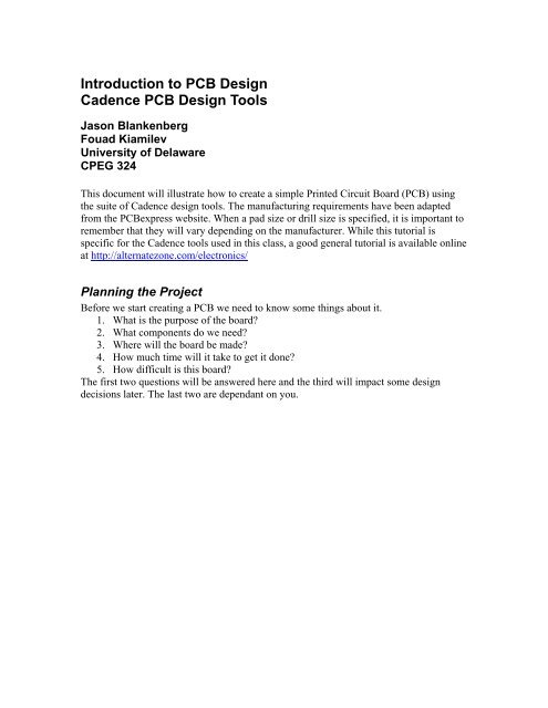 Introduction To PCB Design Cadence Tools