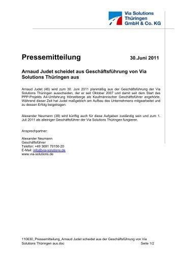 Arnaud Judet scheidet aus der Geschäftsführung - Via Solutions ...
