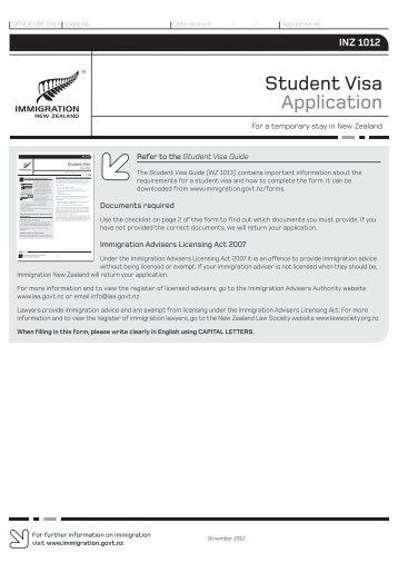 Student Visa Application (INZ 1012) - Immigration New Zealand