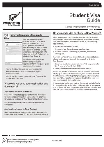 Student Visa Guide (INZ 1013) - Immigration New Zealand