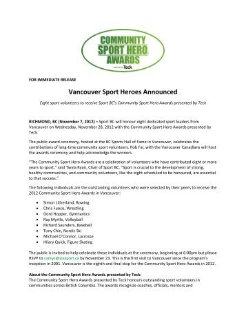 Vancouver Sport Heroes Announced - British Columbia Wrestling ...