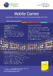 Mobile Games Table of Contents - Juniper Research