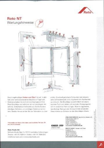 Bedienungs- und Pflegeanleitung Roto - Fenster Koch