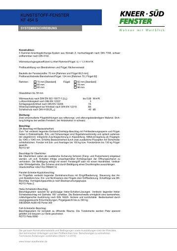 Kunststoff-Fenster KF 454 S - Systembeschreibung - Fenster Koch