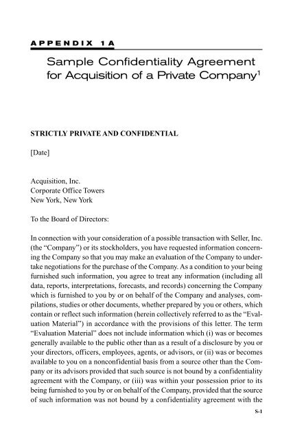 Sample Confidentiality Agreement For Acquisition Of A