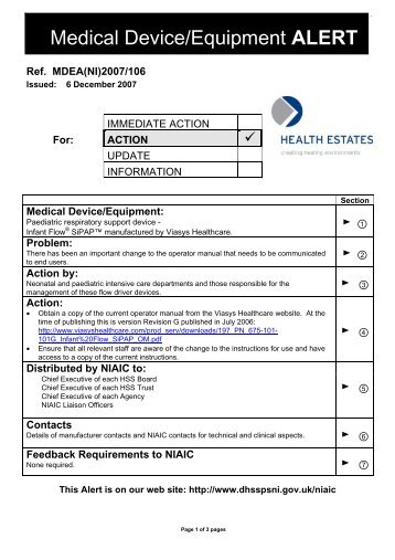 Medical Device ALERT - Department of Health, Social Services and ...