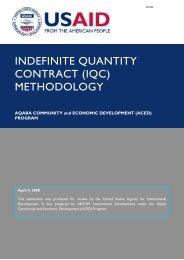 INDEFINITE QUANTITY CONTRACT (IQC) METHODOLOGY