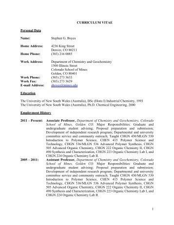 full cv pdf file chemistry and geochemistry colorado school